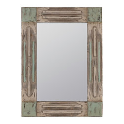 """Cooper Classics - Country - Cottage Desna 42 1/2"""" High Rectangular Wall Mirror - Bring rustic style to any empty wall or vanity area with the Desna wall mirror. The rectangular design features a weathered blue and gray finish frame with unique markings throughout. A perfect accent mirror to dress up any industrial or coastal living space. Rectangular wall mirror. Weathered blue and gray finish. 42 1/2"""" high. 31 1/2"""" wide. Mirror glass only is 30 3/4"""" high 19 3/4"""" wide.  Rectangular wall mirror.  Weathered blue and gray finish.  42 1/2"""" high.  31 1/2"""" wide.  Mirror glass only is 30 3/4"""" high 19 3/4"""" wide."""