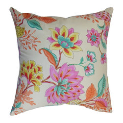 "The Pillow Collection - Mahanoro Floral Pillow Pink - Create a garden-inspired decor style by adding this vibrant throw pillow. This accent pillow comes with a blend of pretty colors and blooming floral pattern. Try this decor pillow in your bedroom, living room or any indoor area in your home. You can mix and match this square pillow with various patterns, including toiles, ikats or solids for a beautiful contrast. This 18"" pillow is made from 100% durable and plush cotton material. Hidden zipper closure for easy cover removal.  Knife edge finish on all four sides.  Reversible pillow with the same fabric on the back side.  Spot cleaning suggested."