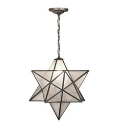 "Meyda Tiffany - Meyda Tiffany 15151 Moravian Star 24""  Modern / Contemporary Outdoor Pendant Lig - Grace your home with this timeless ceiling fixture, hand crafted of sparkling Clear Seedy art glass. Dating back to Moravia, hunderds of years ago, the star was used to protect your home and bring good luck to your family. The Meyda Tiffany Moravian Star pendant is suspended from chain and canopy in a Mahogany Bronze hand applied finish."