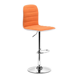 "Tosh Furniture - Westmore Barstool Orange Fabric - Sleek and sexy, the Westmore Barstool completes any modern space. It has a fabric seat and leatherette back with chrome height adjustable swivel base. Orange Fabric; Fabrc, Leatherette; Chromed Steel Finish; Some assembly required; Overall dimensions: 16.3""W x 16""L x 38.6~46.5""H; Seat Height: 23~31.9""; Seat Depth: 15""; Seat Width: 16.3"""
