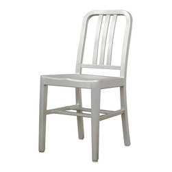 Wholesale Interiors - Modern Cafe Chair in Brushed Aluminum - Set o - Set of 2. Modern dining chair. Hollow brushed aluminum. Can be used outdoors. Lightweight. Plastic-non marking feet. No assembly required. Overall: 15.75 in. W x 18.5 in. D x 33 in. H. Seat height: 18 in.There is no reason to restrict contemporary furniture to the indoors - enjoy it al fresco on your deck, patio, or restaurant with the Cafe Chair. The simple design lends itself well to just about any type of setting. Plastic non-marking feet finish off the legs and provide additional stabilization.