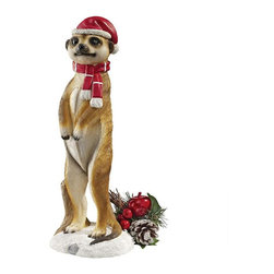 EttansPalace - African Wildlife Meerkat Christmas Welcome Garden Statue Sculpture - Bundled in bright hat and scarf, our Santa's helper meerkat sculpture tunneled through the snow to give your holiday guests a warm meerkat welcome! Adorable alone or as a pair, our merry meerkat statues are cast in quality designer resin and hand-painted with enough detail to make your holiday season one big party!