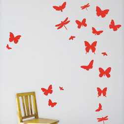 Butterflies Wall Stickers - Red - With our decorative WallStickers, it is easy to create a new look and change the style of a room in a matter of minutes. Can be applied to all even and smooth surfaces. Will not stick to rough surfaces, such as brick walls etc.
