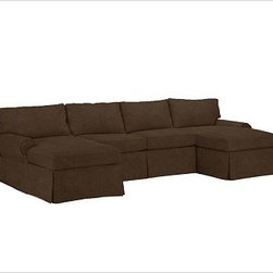 """PB Basic 3-Piece U-Shaped Sectional Slipcover, Everydayvelvet Mocha - Designed exclusively for our PB Basic Sectional, these easy-care slipcovers have a casual drape, retain their smooth fit, and remove easily for cleaning. Select """"Living Room"""" in our {{link path='http://potterybarn.icovia.com/icovia.aspx' class='popup' width='900' height='700'}}Room Planner{{/link}} to select a configuration that's ideal for your space. This item can also be customized with your choice of over {{link path='pages/popups/fab_leather_popup.html' class='popup' width='720' height='800'}}80 custom fabrics and colors{{/link}}. For details and pricing on custom fabrics, please call us at 1.800.840.3658 or click Live Help. All slipcover fabrics are hand selected for softness, quality and durability. {{link path='pages/popups/sectionalsheet.html' class='popup' width='720' height='800'}}Left-arm or right-arm configuration{{/link}} is determined by the location of the arm on the love seat as you face the piece. This is a special-order item and ships directly from the manufacturer. To view our order and return policy, click on the Shipping Info tab above."""