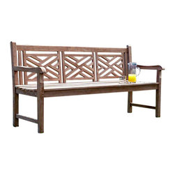 """Master Garden Products - Teak Wood Cross Bench, Three Seater - We use solid Indonesian plantation teak to build our line of teak benches.  We offer the elegant cross bench design for your home and garden. 60"""" wide, seats three."""