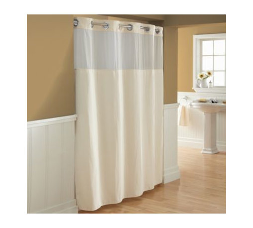 """Hookless - Hookless Waffle Fabric Shower Curtain and Liner Set in Cream - This innovative shower curtain and liner offer no hassles thanks to their """"split ring"""" hookless design that lets you hang them in less than 10 seconds."""