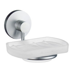 Smedbo - Studio Frosted Glass Soap Dish w Brushed Chrome Hardware - Concealed fastening. Detachable soap dish for easy cleaning. 4.75 in. W x 4.5 in. D