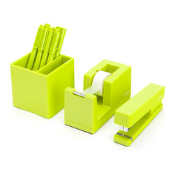 Poppin - Starter Set, Lime Green - Starter Set includes: Stapler with free Staples, Tape Dispenser with free Tape, Box of 12 Signature Pens, and Pen Cup