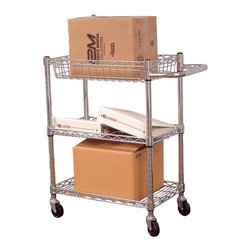 Luxor Furniture - Wire Tub Cart in Nickel - Includes four 3 in. casters. Two casters with locking brake. Non-marring bumpers to protect walls. Three shelves. Lightweight. Easy to handle. One 3.5 and two 1 in. deep tub shelves. Made from chrome plated steel. 24 in. L x 14 in. W x 32 in. H. Warranty. Assembly Instructions