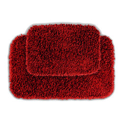 None - Quincy Super Shaggy Red Hot Washable 2-piece Bath Rug Set - Jazz up the bathroom,shower room,or spa with a bright note of color while adding comfort you can sink your toes into with the Quincy Super Shaggy bathroom collection. These two red rugs are created from soft,durable,machine-washable nylon.