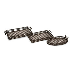IMAX Worldwide Home - Urban Iron Trays - Set of 3 - Set of 3. Material: 100% Wrought Iron. 27.5 in. H x 16 in. W x 3-5 in. D. Weight: 14.5 lbs.Unique, transitional set of 3 iron trays.