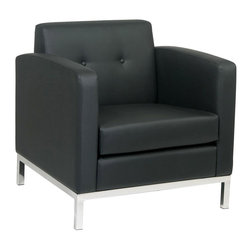 Ave Six - Black Faux Leather Wall Street Lounge Chair with Tufted Back - Espresso faux leather