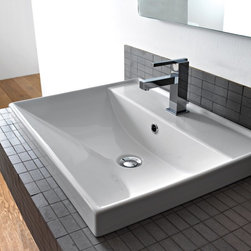 Scarabeo - Square White Ceramic Self Rimming or Wall Mounted Bathroom Sink - Square white ceramic self rimming or wall mounted sink. Suspended or self rimming sink comes with overflow and no hole, one hole, or three drilled hole options. Made in Italy by Scarabeo. Made out of white ceramic. Contemporary design. Includes overflow. One hole, three hole, or no hole. ADA compliant. Standard drain size of 1.25 inches. Because the sink has multiple installations, the back side is not glazed.