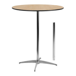 "Flash Furniture - Flash Furniture 36 Inch Round Wood Cocktail Table with 30"" and 42"" Columns - This versatile commercial grade cocktail table features a standard table height column and bar height column. The two column options allow you to optimize your resources when setting up different events. Enhance the look of the bar table configuration by adding a table cover and a loosely tied coordinating material. table breaks down for easy transporting and organized storing. cocktail tables can be used in banquet halls, conference centers, hotels, bars, clubs, training rooms, break rooms or any other social event. [XA-36-COTA-GG]"