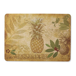 "Frontgate - Pineapple Coast Mat - 22"" x 31"" - Nonskid backing holds mat securely in place. Suitable for all floor types. Exclusively at Frontgate. While our Pineapple Coast Mat features a welcoming symbol of hospitality, you'll welcome the cushioned support it provides in standing workspaces in the kitchen or laundry room. Made of durable natural rubber, the machine-washable mat also has a fade-resistant woven polyester surface.  .  .  . Made in USA."