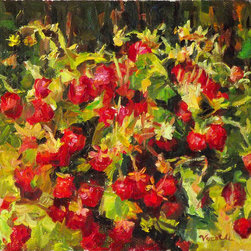 Original Oil Painting, Strawberries From Forest, Fruits - I painted this work from real nature. I love red colors of strawberries and contrast with green! The painting is full life and joy!