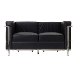 "IFN Modern - Le Corbusier LC2 Style Loveseat - Italian Black - Our LC2 line reproduction was inspired by Le Corbusier��_s original design back in the 1920��_s. Charles-Edouard Jeanneret-Gris better known as Le Corbusier, introduced the LC2 line for two of his project ��_The Maison la Roche in Paris��_ and pavilion for Barbara and Henry Church. Our LC2 furniture line is true to the original design; we offer superiors quality leathers and craftsmanship. A lot of reproduction companies out there use fake leather or vinyl on their products and lower grade steel which will bend and chip over time. We offer multiple colors on all of our products, and our stainless steel is hand polished to a mirror finish.                                                                                                                                                                                                                             Overall Dimensions: 26.4"" H x 51.2"" W x 27.5"" D"