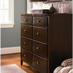 Universal Furniture - Free Style 8 Drawer Dresser Multicolor - 1371004 - Shop for Dressers from Hayneedle.com! The Free Style 8 Drawer Dresser is a modern way to add classic style to any bedroom. This handsome dresser is constructed from durable wood and cherry veneers in a rich Mocha finish that accentuates the timeless design. Each of the eight spacious drawers is fitted with smooth drawer pulls and round silver knobs located in the center of each drawer face.For added character the top left drawer features unique media storage capabilities. Pull the face of the drawer down to reveal an outward sliding media cabinet for DVD players making the surface of this dresser ideal for TVs or computers. The top right drawer includes a felt-lined drawer that removes for hidden storage of valuables. The bottom two drawers are fitted with removable/adjustable partitions that allow for customizable use to make this dresser your own.Additional featuresEnglish dovetail drawer construction front and backSoft self-closing full-extension metal on metal drawer guidesScrewed-in back panelsAdjustable levelersAbout Universal Furniture InternationalRecognized as a leader in exceptionally crafted home furnishings including bedroom and dining room items entertainment centers and more Universal strives to make items that are styled to endure but always remain fresh. They make it a goal to include features that fit the way their customers live today and to find prices that put high-quality products within reach. These are the principles that guide the work at Universal essential elements of good affordable and smart design.