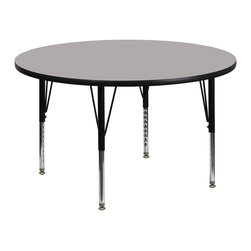 Flash Furniture - Flash Furniture 42 Inch Round Activity Table with 1.25 Inch Laminate Top - Flash Furniture's Pre-School XU-A42-RND-GY-H-P-GG warp resistant high pressure laminate Round activity table features a 1.25'' top and a high pressure laminate work surface. This Round high Pressure Laminate activity table provides an extremely durable (no mar, no burn, no stain) work surface that is versatile enough for everything from computers to projects or group lessons. Sturdy steel Legs adjust from 16.25'' - 25.25'' high and have a brilliant chrome finish. The 1.25'' thick particle board top also incorporates a protective underside backing sheet to prevent moisture absorption and warping. T-mold edge banding provides a durable and attractive edging enhancement that is certain to withstand the rigors of any classroom environment. Glides prevent wobbling and will keep your work surface level. This model is featured in a beautiful Grey finish that will enhance the beauty of any school setting. [XU-A42-RND-GY-H-P-GG]