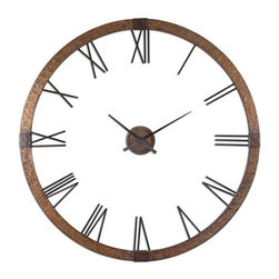 Uttermost - Uttermost - Amarion Clock - 06655 - Uttermost 06655 - This oversized clock features hammered copper sheeting with a light gray wash and aged black details. Center hands movement is separate from the outside frame. Uses one AA battery. Some assembly required.
