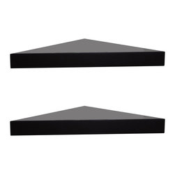 Welland - 2-Piece Chicago Floating Corner Shelf, 14-Inch, Espresso - This pair of clean, floating triangle shelves maximizes space, effortlessly adapting to any corner. Stack decorative soaps and candles in a bathroom or create a fun vertical spice rack in a kitchen corner. A shelving staple, available in black, espresso or white to match your decor.
