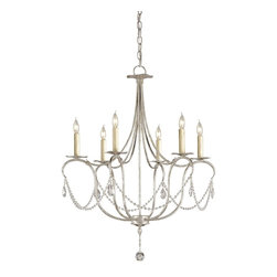 Currey and Company - Currey and Company 9890 Crystal Lights Traditional Chandelier - Small - A classic design is executed with a silver finish. A lovely form is augmented by a simple crystal trim making it perfect for many interiors. This Small Crystal Light Chandelier is companion to a number of other designs in this style.