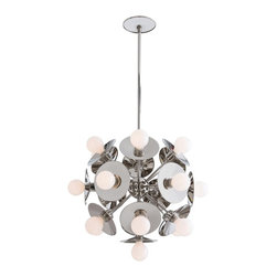 "Arteriors Home - Arteriors Home Polished Nickel Starburst Motif Chandelier - This delightful interpretation of the ever-popular starburst motif is finished in polished nickel with 19 lights. Please note this can be assembled with or without the reflective back plates behind the light bulbs, giving you the option of two entirely different looks. The chandelier is shown with 3"" frosted globe bulbs (not included). The chandelier measures 20"" in diameter and the height is adjustable from 25""-45"". The chandelier comes with (1) 6"" pipe and (2) 12"" pipes. The chandelier takes 19 25 watt max bulbs (not included)."