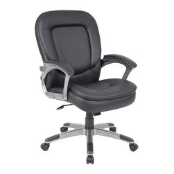"""Boss Office Products - Boss Office Pillowtop Executive Mid Back Chair with Headrest - Boss Office Products-Office Chairs-B7106-Patented perforated pillow top design. Mid back chair. Upholstered in Black Caressoft Plus. Padded armrests. Adjustable tilt tension control. Pneumatic gas lift seat height adjustment. Large 27"""" base with black caps. Hooded double wheel casters."""