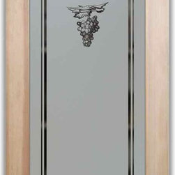 """Pantry Door Grape Cluster - PANTRY DOORS TO SUIT YOUR STYLE!  Glass Pantry Doors you customize, from wood type to glass design!   Shipping is just $99 to most states, $159 to some East coast regions, custom packed and fully insured with a 1-4 day transit time.  Available any size, as pantry door glass insert only or pre-installed in a door frame, with 8 wood types available.  ETA for pantry doors will vary from 3-8 weeks depending on glass & door type.........Block the view, but brighten the look with a beautiful obscure, decorative glass pantry door by Sans Soucie!   Select from dozens of frosted glass designs, borders and letter styles!   Sans Soucie creates their pantry door obscure glass designs thru sandblasting the glass in different ways which create not only different effects, but different levels in price.  Choose from the highest quality and largest selection of frosted glass pantry doors available anywhere!   The """"same design, done different"""" - with no limit to design, there's something for every decor, regardless of style.  Inside our fun, easy to use online Glass and Door Designer at sanssoucie.com, you'll get instant pricing on everything as YOU customize your door and the glass, just the way YOU want it, to compliment and coordinate with your decor.  When you're all finished designing, you can place your order right there online!  Glass and doors ship worldwide, custom packed in-house, fully insured via UPS Freight.   Glass is sandblast frosted or etched and pantry door designs are available in 3 effects:   Solid frost, 2D surface etched or 3D carved. Visit or site to learn more!"""