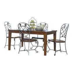 Riverside Furniture - Riverside Furniture Harmony 5 Piece Dining Table Set in Antique Oak - Riverside Furniture - Dining Sets - 280335PCPKG