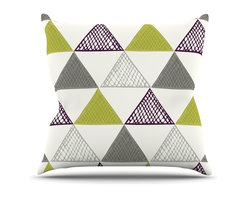 """Kess InHouse - Laurie Baars """"Textured Triangles Green"""" Gray White Throw Pillow (Outdoor, 16"""" x - Decorate your backyard, patio or even take it on a picnic with the Kess Inhouse outdoor throw pillow! Complete your backyard by adding unique artwork, patterns, illustrations and colors! Be the envy of your neighbors and friends with this long lasting outdoor artistic and innovative pillow. These pillows are printed on both sides for added pizzazz!"""