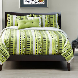 Siscovers - Green Valley Bright Moss and White Six Piece Queen Duvet Set - - Myriad of organic shapes and patterns in modern colors  - Set Includes: Duvet - 94x98, Two Queen Shams - 30x20, One Decorative Pillow - 16x16, One Decorative Pillow - 26x14  - Inserts: Polyester  - Duvet Material: 60% Rayon, 40% Polyester  - Sham Material: 60% Rayon, 40% Polyester  - Pillow Material: 60% Rayon, 40% Polyester  - Additional Colors: Black and Kiwi  - Workmanship and materials for the life of the product. SIScovers cannot be responsible for normal fabric wear, sun damage, or damage caused by misuse  - Reversible Duvet and Shams  - Care Instructions: Dry Clean Only  - Made in USA of Fabric made in China Siscovers - GRVA-XDUQN6