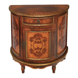 Koenig Collection - Mediterranean Half Moon Accent Table, Fresco Brown Crackle - Half Moon Accent Table, Fresco Brown Crackle with Scrolls
