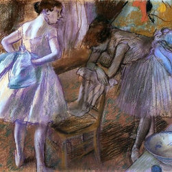 """Edgar Degas Two Dancers in Their Dressing Room  Print - 18"""" x 24"""" Edgar Degas Two Dancers in Their Dressing Room premium archival print reproduced to meet museum quality standards. Our museum quality archival prints are produced using high-precision print technology for a more accurate reproduction printed on high quality, heavyweight matte presentation paper with fade-resistant, archival inks. Our progressive business model allows us to offer works of art to you at the best wholesale pricing, significantly less than art gallery prices, affordable to all. This line of artwork is produced with extra white border space (if you choose to have it framed, for your framer to work with to frame properly or utilize a larger mat and/or frame).  We present a comprehensive collection of exceptional art reproductions byEdgar Degas."""