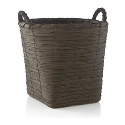 Wallman Small Basket - Handwoven basket is stained rich brown to bring out the organic texture of natural fiber. Tall round basket tapers to a sturdy square base, ready to receive towels, toys and household clutter.