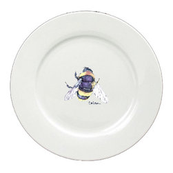 Caroline's Treasures - Bumble Bee Round Ceramic White Dinner Plate 8852-DPW-11 - Bumble Bee Round Ceramic White Dinner Plate 8852-DPW-11 Heavy Square Ceramic Plate 11 inches. LEAD FREE, dishwasher and microwave safe. The plate has been refired over 1600 degrees and the artwork will not fade or crack.