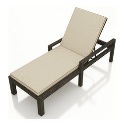 3 Pc. Hampton Outdoor Chaise Lounge With Arms Set by Forever Patio - The 3 Piece Hampton Chaise Lounge with Arms Set by Forever Patio (FP-HAM-3CLSA) makes for a great addition to the poolside or wherever you desire stylish outdoor lounging. The set seats 2 adults comfortably, and includes 2 chaise lounges and an end table with a glass top. This set features Chocolate wicker, which is made from High-Density Polyethylene (HDPE) for outdoor use. Every strand of this wicker is infused with the rich color and UV-inhibitors that prevent cracking, chipping and fading ordinarily caused by sunlight. Each piece features a thick-gauged, powder-coated aluminum frame that makes the set extremely durable and resistant to corrosion. Also included with the set are cushions covered in fade- and mildew-resistant Sunbrella? fabric, available in a wide selection of colors. Whichever look you choose, you will rest easy on these comfortable cushions and durable frame.