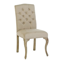 Avignon French Country Tufted Back Oak Cotton Dining Chairs- Set of 2 - A delicate camelback accentuates the beauty of this Belgian-style, tufted-back chair, upholstered in a blend of hemp-cotton fabric. From the carved solid oak legs to the back's tufted stitch work, this chair is nicely scaled to suit any size or style room. Must be purchased in multiples of 2.