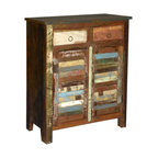 Sierra Living Concepts - Tyndall Multi Color Reclaimed Wood Storage Cabinet with 2 Drawers - Complete the look of your living space with this stunning Tyndall Multi Color Reclaimed Wood Storage Cabinet with 2 Drawers.