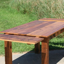 Reclaimed Pine Square Wood Extension Table - Reclaimed Pine Square Wood Table with End Extensions