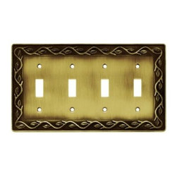 Liberty Hardware - Liberty Hardware 64183 Leaf and Vine WP Collection 8.59 Inch Switch Plate - A simple change can make a huge impact on the look and feel of any room. Change out your old wall plates and give any room a brand new feel. Experience the look of a quality Liberty Hardware wall plate. Width - 8.59 Inch, Height - 4.9 Inch, Projection - 0.3 Inch, Finish - Tumbled Antique Brass, Weight - 0.9 Lbs.
