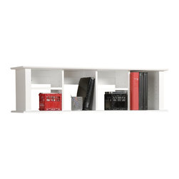 Prepac - Prepac Wall Hanging Hutch in White Finish - Prepac - Hutch - WHD1348 - The Wall Hanging Hutch can be mounted above Prepac Contemporary Desk or on its own as a floating bookcase for collectibles and accessories. It offers plenty of storage for books papers and computer disks. It has four adjustable shelves and fits binders perfectly. Installation is easy using our two-piece hanging rail system.