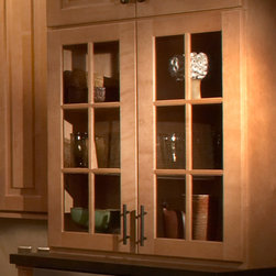 Mullion Cabinet Doors | CliqStudios.com - Mullion and prepped for glass doors are the ideal way to showcase fine crystal and decorative dishware. Your kitchen will sparkle from sunlight reflecting from your glass treasures.