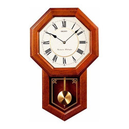Seiko - Seiko Brown Oak Schoolhouse Wall Clock - 12.75 Inches Wide - QXH110BLH - Shop for Clocks from Hayneedle.com! The Seiko Brown Oak Schoolhouse Wall Clock adds a taste of sophistication. Octagon shape face with roman numerals. Pendulum operated. Curved glass crystal covers clock face. Etched pendulum glass. Dark brown solid oak case. Elegant sound with Westminster/Whittington quarter-hour and hourly chime strikes. Special features with volume control and nighttime chime silencer for those who prefer quiet as you sleep. C battery is included. Clock dimensions: 12.75W x 3.75D x 21.25H inches. About SeikoOver its 120 year history as a maker of fine timepieces the Seiko name has become synonymous with cutting edge technology ultra-precision constant innovation and refinement. Millions worldwide rely on Seiko wristwatches to keep them on schedule. Two generations have grown up thrilling to Olympic and World Cup competitions where victory or defeat is defined within a fraction of a second all overseen by Seiko timekeepers. Seiko's far-reaching modern empire has its roots in a humble Tokyo clock repair shop opened by Kintaro Hattori in 1881 nearly a century before the introduction of its first landmark wristwatch. Today Seiko continues to offer a wide array of clocks and movements for any home including wall alarm desk mantel musical and heirloom quality decorative pieces. Beautiful on the outside quality components on the inside Seiko products will serve you for years to come.