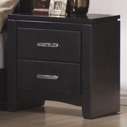 Coaster - Dylan Faux Leather Nightstand - Contemporary style. Two spacious drawers. Dovetail drawer construction. Center drawer glides. Clean straight lines, smooth edges and tapered feet. Shiny silver drawer handles. Made from wood veneers and solids. Black finish. 23.5 in. W x 15.25 in. D x 24.5 in. H. WarrantyThis unique contemporary nightstand will be the perfect bedside accessory in your master bedroom. Choose this nightstand to complete your stylish bedroom ensemble.