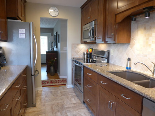1960 39 s small galley kitchen remodeled before and after for Galley kitchen remodels before and after