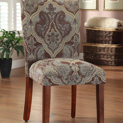 Kinfine - Blue and Brown Paisley Parson Chairs (Set of 2) - These comfortable, homey chairs feature unique upholstery designs in a number of exciting colors. The seat's classic, timeless design make this chair an ideal accent for bedrooms or foyers, while retaining the ability to function as part of a complete dining ensemble.