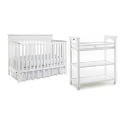 Graco - Lauren Classic Two Piece Convertible Crib Set in White - Durable, versatile and beautiful, the Lauren 4-in-1 Convertible Crib is certified to be safe. Simple yet elegant in style, the crib moves easily on rollers and the mattress adjusts to three different heights. This crib transitions easily to a toddler bed (no guard rail needed for conversion), daybed and full-size headboard (bed frame not included). Set includes: -Classic 4-in-1 convertible crib. -Dressing table. Features: -Lauren collection. -White finish. -Non - Dropside. -JPMA, ASTM and CPSC safety certified. -Three-position mattress height adjustment. -Four sturdy rollers (two locking) for ease of mobility for crib. -Includes four sturdy rollers (two locking) for ease of mobility for dressing table. -Changing area equipped with built in safety strap for added security. -Features easily accessible open design with abundant storage space. -Easy to clean surfaces. -Assembly required for crib and dressing table. -Material: Wood. This is a NON-Drop Side crib