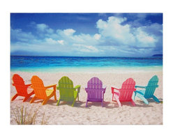 Oriental Furniture - Beach Chairs Canvas Wall Art - Peaceful seaside photograph featuring a half circle of colorful Adirondack chairs on a white sandy beach overlooking calm blue waters and white clouds. Printed using the latest ink jet technology for a crisp, high-quality image. Perfect wall art for a beach house, or just a reminder of summer in a living room, kitchen or bathroom.