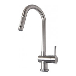 """Virtu USA - Brushed Nickel Single Hole Kitchen Faucet - The Huya single handle kitchen faucet comes complete with housing designed to resist the wear and everyday use and then some. Take notice in the beautiful modern design accompanied by an ADA compliant lever handle for a much more simpler accessibility. It is immaculately designed with simplicity while maintaining multifunctional purposes. The Huya kitchen faucet was designed with both luxury and practicality in mind. Finish: Brushed Nickel; Control Handle: Single Lever Water and Temperature Control; Configuration: Single-Hole; Material: Solid Brass with Ceramic Cartridge; Dimensions: 2.6""""W X 9.5""""D X 17""""H; Included: All Mounting Hardware and Hot/Cold Waterlines; Standard US Plumbing Connections"""